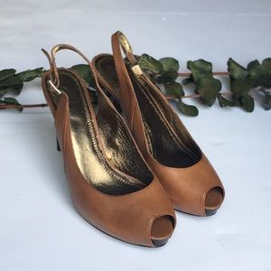 Loft Brown leather high heels